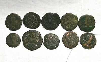Lot Of 10 Semi-Cleaned Authentic Ancient Roman Bronze Coins