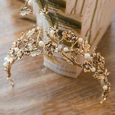 leaf flower nature vintage antique tiara wedding bridemaid bridal queen gothic