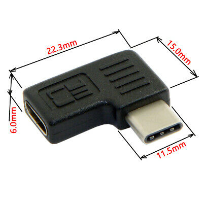 Cablecc 90 Right Angled USB Type-C Male to Female Extension Adapter for Laptop