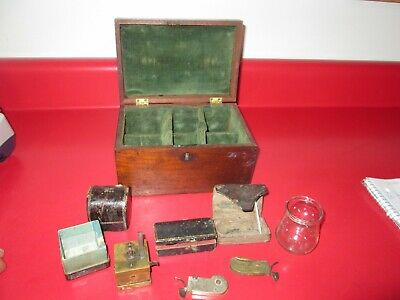 Antique CIVIL WAR Era - WOOD DOCTORS BOX w/ 3 BLEEDERS, SCARIICATOR old patina