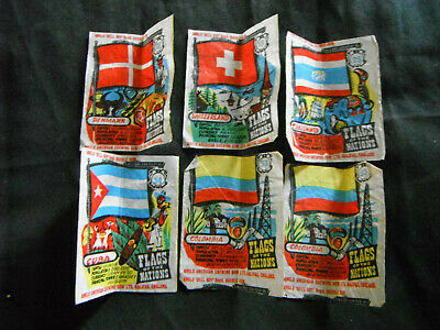 Anglo-American Chewing Gum wrapper FLAGS x 6