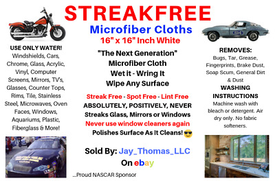 "(6) STREAK FREE MICROFIBER REUSABLE LINT FREE 16""x16"" WHITE CLEANING CLOTHS"