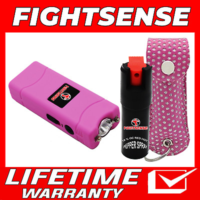 Mini Stun Gun and Pepper Spray Combo for Self Defense -Extremely Powerful Pink B