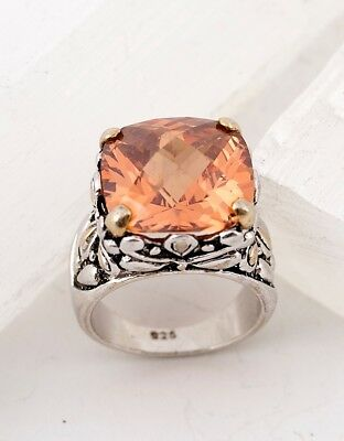Beautiful Sterling Silver And Honey Colored Sparkling CZ Stone Ring - Special