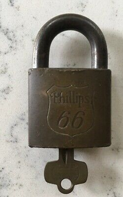 Antique Brass Phillips 66 Gasoline Oil Gas Advertising Best Padlock Pad Lock