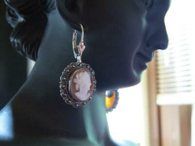 Vintage / Antique, Solid Sterling Silver, Genuine Cameo, Dangle Earrings