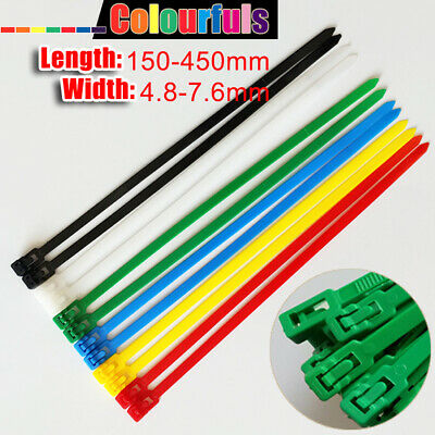 Reusable Wire Cable Zip Ties Wraps Colorful Nylon 4.8mm 7.6mm Width Releasable