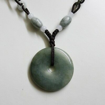 Certified Grade A Natural Untreated Oily Green Jadeite Jade Circle Donut Pendant