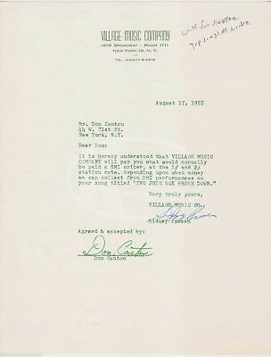 Don Canton Sinatra Five Hundred Guys Songwriter Autograph Signed Music Contract