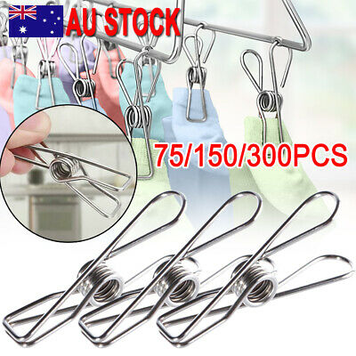 20-300X Clothes Pegs Stainless Steel Hanging Clips Pins Laundry Windproof Clamp