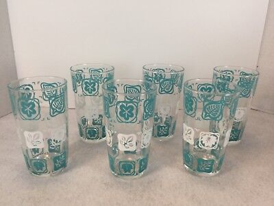 VIntage 1950's Anchor Hocking Aqua & White Square Design Tumblers Glasses Set 6