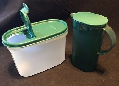 TUPPERWARE MINI EMERALD GREEN ROCKER LID 3535 And 1612 Oval Canister W/ Lid