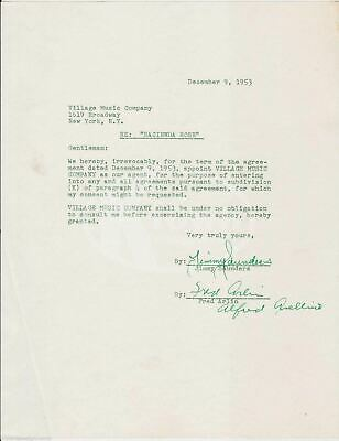 Jimmy Saunders Sinatra Peach Tree Street Songwriter Autograph Signed Contract