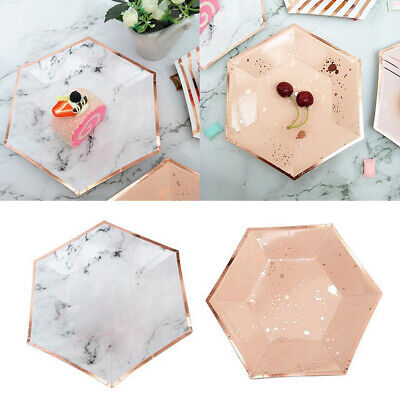 8Pcs / Set Disposable Foil Rose Hexagon Marble Paper Plates Dish Party Tableware