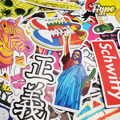100 Sticker Pack, Brands GUARANTEED, Supreme Bape Hypebeast Skateboard Stickers