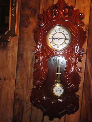 "Vintage 31 Day Wooden Key Wind Up - Striking - Pendulum Cabinet Wall Clock 29"" K"