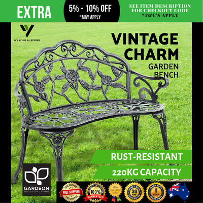 French Garden Style Bench Cast Iron Leg Backrest 2 Seater Chair Outdoor Seat