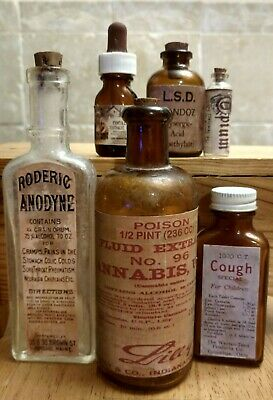 Old VTG. Medicine Bottle Hand Craft,Opium,Cannabis,LSD,Cocaine,CoughAnodyne w/Op