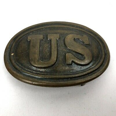 Vintage Style Military Civil War Union Soldier US Belt Buckle Plate Solid Brass