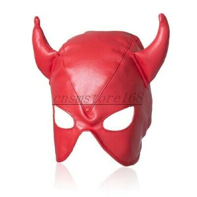 PU Leather Open Eye Mouth Head Mask Hood Fetish Harness Roleplay Horn Hood Game