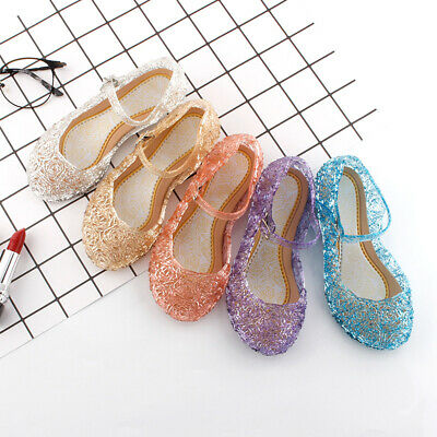 Girls Frozen Princess Dress Up Party Facny Sandals Crystal Jelly Shoes Size