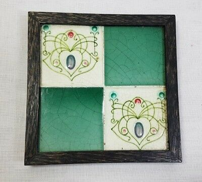 Antique Art Nouveau framed tile Edwardian green chequered  in wooden frame