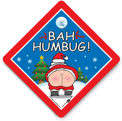 Bah Humbug Sign, Anti Xmas Sign, Christmas Humour Sign, Suction Cup Sign
