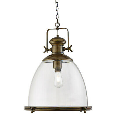 Industrial Antique Brass Ceiling Pendant Light Fitting With Clear Glass Shade