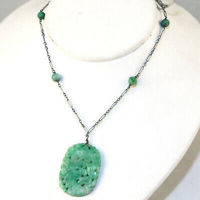 ANTIQUE Sterling JADE Carved Necklace