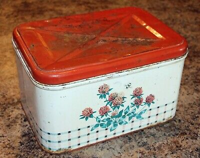 Vintage Tin Bread Box with Bee & Flower Design