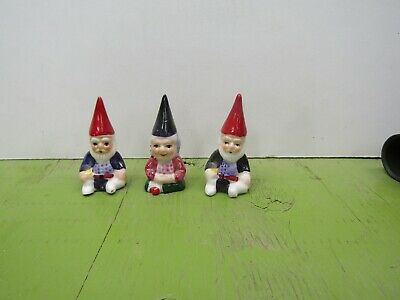 three gnome red caps collector thimbles porcelain lot 12