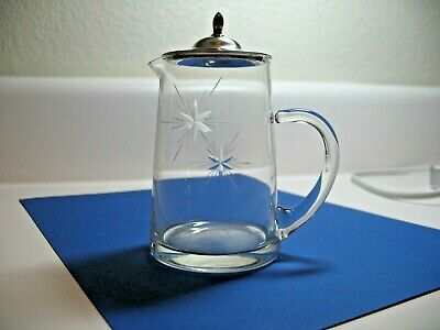 Antique Etched Watson Crystal Creamer with Sterling 925 Top 1900 - 1940