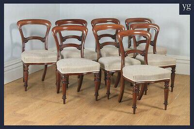Antique Victorian Set of Eight 19th Century Mahogany Balloon Back Dining Chairs