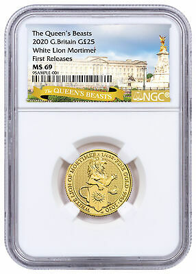 2020 Britain 1/4 oz Gold Queen's Beasts White Lion Mortimer NGC MS69 FR SKU59658