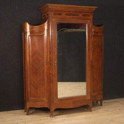 Wardrobe armoire antique style Louis XV furniture 3 doors cabinet bedroom wood