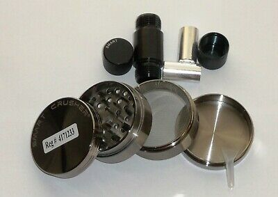 4 Piece Med 50mm Gunmetal Spice Tobacco Smoke Herb Grinder Crusher & Press