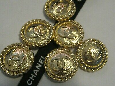 CHANEL BUTTONS lot of 6 GOLD 20 mm - over 3/4 inch metal  cc logo