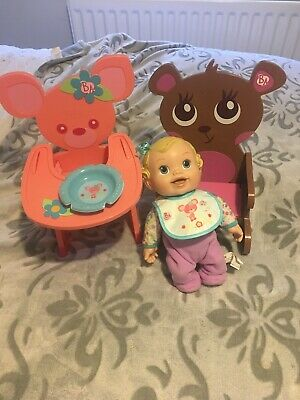 HAsBRO BABY ALIVE DOLL WITH HIGH CHAIR, PLATE AND ROCKING ROCKER