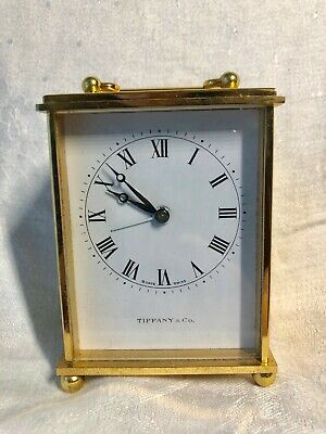 Vintage Tiffany & Co Carriage Clock, Swiss Movement, Wind Up Alarm, Signed, 15 J
