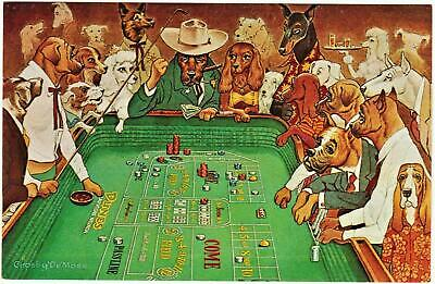 DUNES casino~DOGS THE HOT DICE GAME~ Las Vegas hotel post card A 72* fast ship!