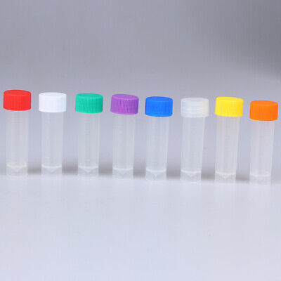 10Pcs 5ml Plastic Test Tubes Vial With Screw Seal Cap Pack ContainVV