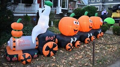 HUGE 14+ Foot Halloween Pumpkin Train Inflatable Airblown Yard Decoration