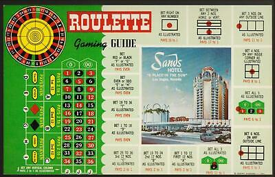 SANDS CASINO *1950's ROULETTE GAMING GUIDE  Las Vegas hotel post card # A 53
