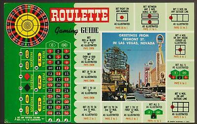 FREMONT STREET*1950's ROULETTE GAMING GUIDE  Las Vegas hotel post card # A 54