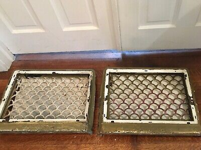Matching Pair Antique Vtg Wall Heating Grate Register Vent Dampers Cast Iron