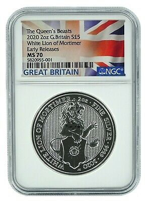 2020 Great Britain 2oz Silver Queens Beast White Lion NGC MS70 Early Releases