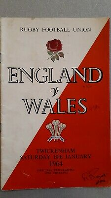 ENGLAND WALES  18th January 1964 RUGBY UNION PROGRAMME