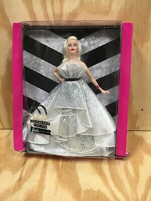 Barbie 60th Anniversary Doll Blonde White Silver Dress Gown Signature