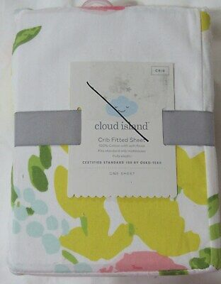 Cloud Island Floral fitted crib sheet girls nursery cotton new #28965