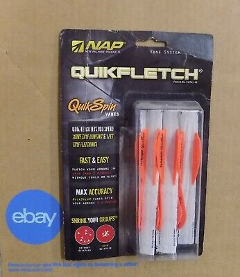 "NAP Quikfletch Vane System Quick Spin Vanes 2/"" 6pk Orange 60-634"